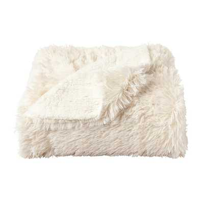 Oversized Long Pile Chiffon White Faux Fur Hypoallergenic Throw Blanket - Home Depot