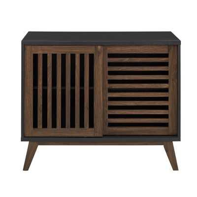 36 in. Black / Dark Walnut Mid Century Modern Farmhouse Sliding Slat Door TV Stand Accent Storage Console Table, Black/Dark Walnut - Home Depot