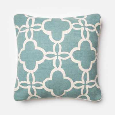 """PILLOWS - TEAL / IVORY - 22"""" X 22"""" Cover Only - Loma Threads"""