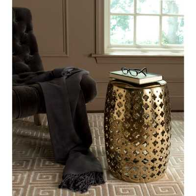 Safavieh Lacey Plated Gold Patio Stool - Home Depot