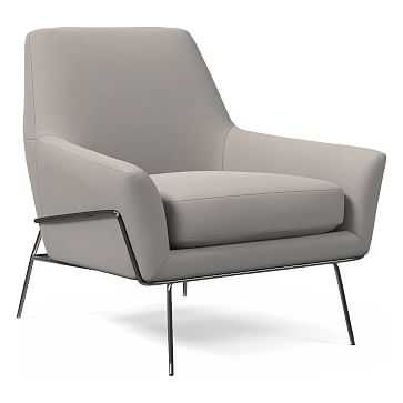 Lucas Wire Base Chair, Performance Velvet, Dove Gray, Burnished Bronze, Poly - West Elm