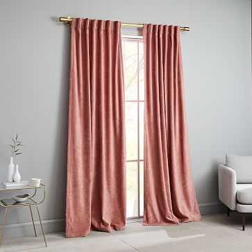 "Worn Velvet Curtain, Pink Grapefruit, 48""x96"" - West Elm"