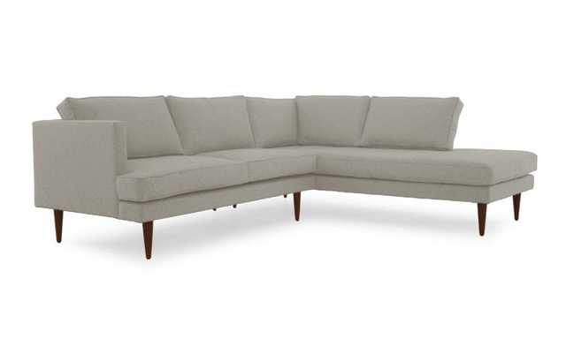 Beige Preston Mid Century Modern Sectional with Bumper (2 piece) - Prime Stone - Mocha - Left - Joybird