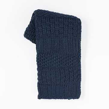 Solid Mixed Knit Throw, Regal Blue - West Elm