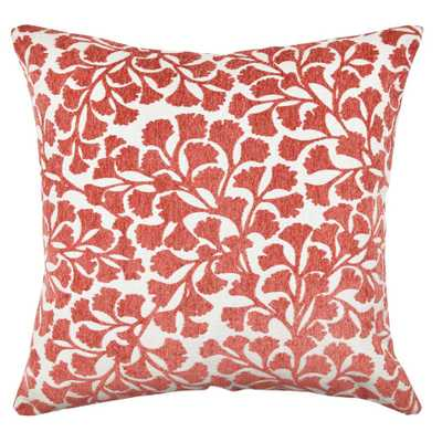 Red Floral Flocked Throw Pillow - Home Depot