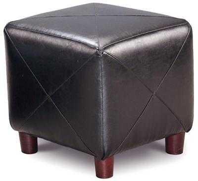 Gemma Contemporary Black Faux Leather Cube Ottoman with Dark Wood Finish - eBay