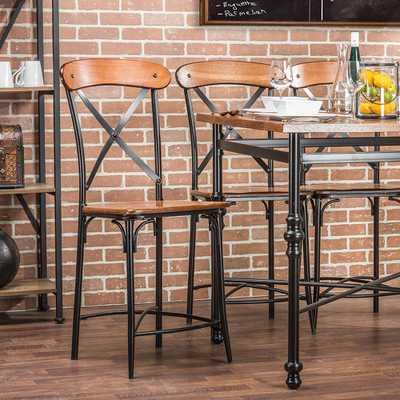 Broxburn Light Brown Wood and Metal 2-Piece Counter Stool Set - Home Depot