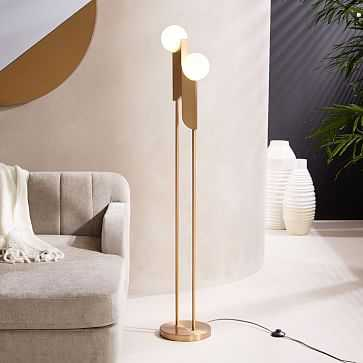 Bower Floor Lamp, Antique Brass, Frosted Glass - West Elm