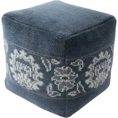 Iuliana Navy (Blue) Accent Pouf Ottoman - Home Depot