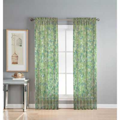 Window Elements Sheer Pinehurst Printed 54 in. W x 84 in. L Rod Pocket Extra Wide Curtain Panel in Sheer Lime (Green) - Home Depot