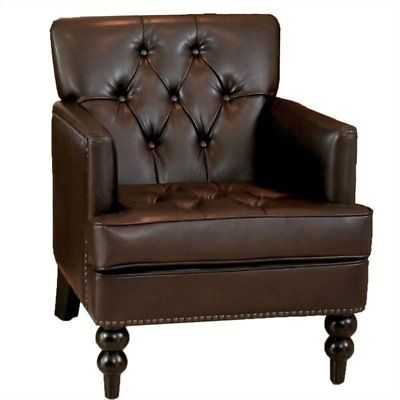 Bowery Hill Leather Tufted Club Chair in Brown - eBay