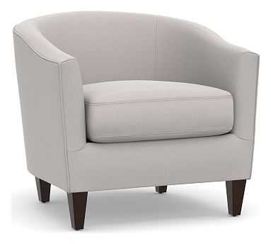 Harlow Upholstered Armchair, Polyester Wrapped Cushions, Microsuede Dove Gray - Pottery Barn