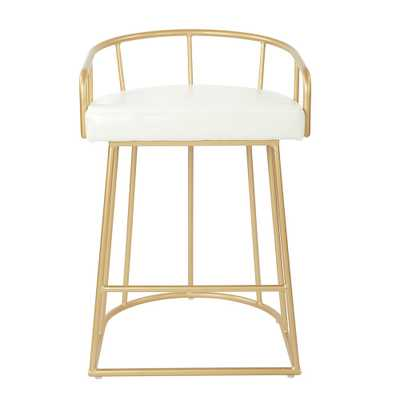 Luna 26 in. White Faux Leather with Gold Base Counter Stool - Home Depot