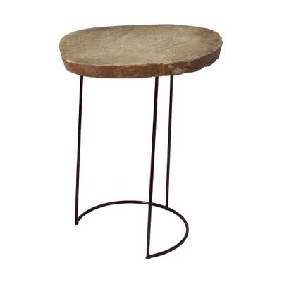 Tall Natural Stone Slab & Black Wire Frame Side Table, Natural Stone/Black - Home Depot
