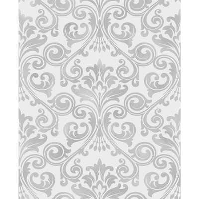 56.4 sq. ft. Wentworth Grey Damask Wallpaper - Home Depot