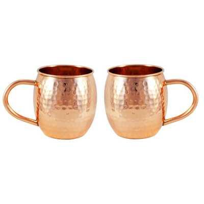 Copper Hammered Barrel Mug (Set of 2) - Home Depot