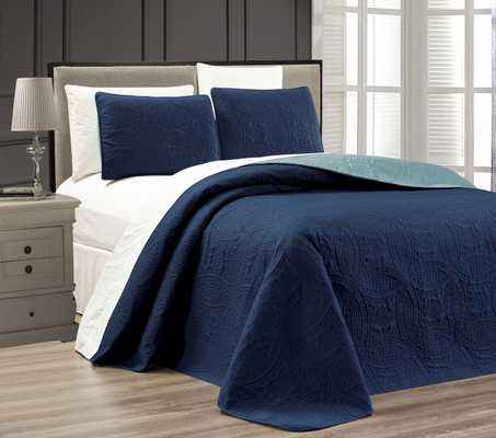 Embossed Medallion Bedspread/Quilt Set: Navy - King - eBay