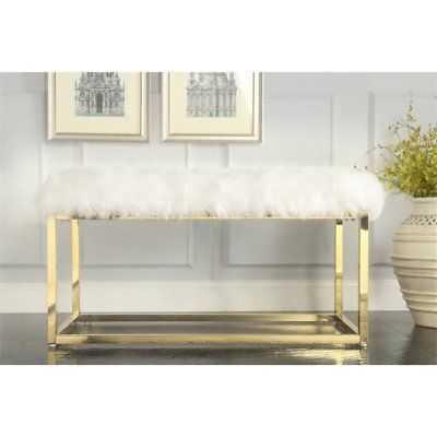 Joseph White Faux Fur Bench - Goldtone Frame - Ottoman - eBay