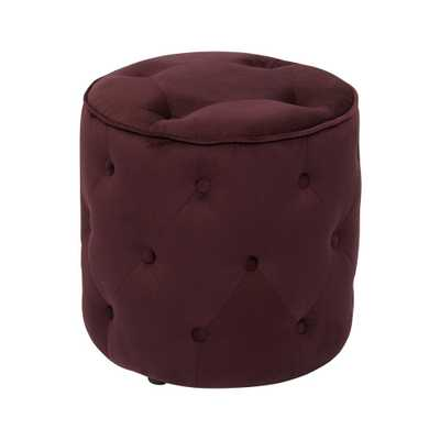Curves Tufted Round Ottoman in Port Velvet with Solid Wood Legs - Home Depot