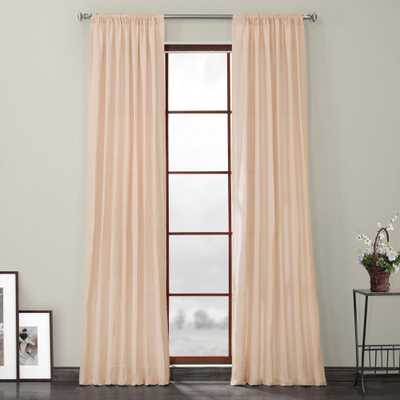 Exclusive Fabrics & Furnishings Signature Cherry Blossom Pink Linen Sheer Curtain - 50 in. W x 84 in. L - Home Depot