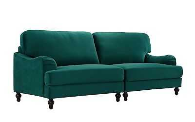 Classic 2 Piece Velvet Convertible Living Room Sofa, Adjustable Couch (Green) - eBay