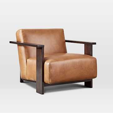 Hawthorne Show Wood Leather Chair, Camel Taos Leather, Dark Mineral - West Elm