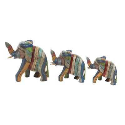 Heins Elephant Wood 3 Piece Figurine Set - Wayfair