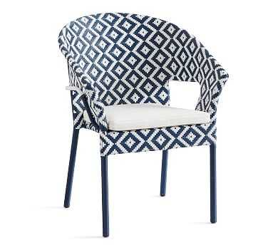 Palmetto All-Weather Wicker Stacking Dining Armchair, Blue/White - Pottery Barn