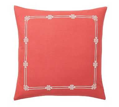 """Emilia Embroidered Pillow Cover, 20"""", Coral - Pottery Barn"""