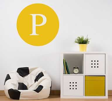 Circle Letter Wall Decal, W, Warm Gray - Pottery Barn