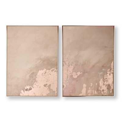 Rose Gold Serenity Framed Canvas Wall Art Set of 2 - Home Depot