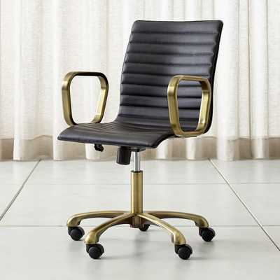 Ripple Black Leather Office Chair with Brass Frame - Crate and Barrel