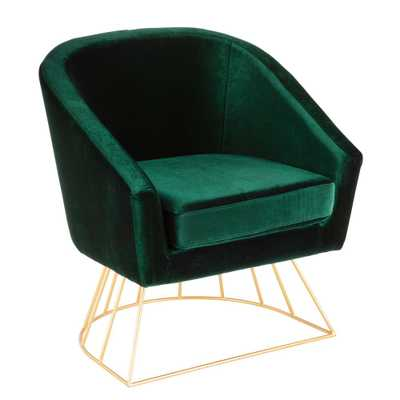 Canary Gold and Green Velvet Tub Chair, Green/Gold - Home Depot