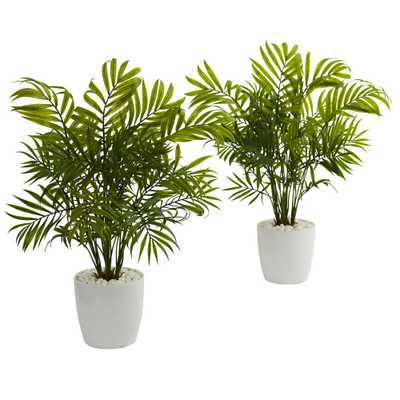 Palms Artificial Plant in White Planter (Set of 2) - Home Depot