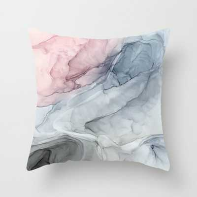 """Pastel Blush, Grey And Blue Ink Clouds Painting Throw Pillow - Indoor Cover (16"""" x 16"""") with pillow insert by Elizabethschulz - Society6"""