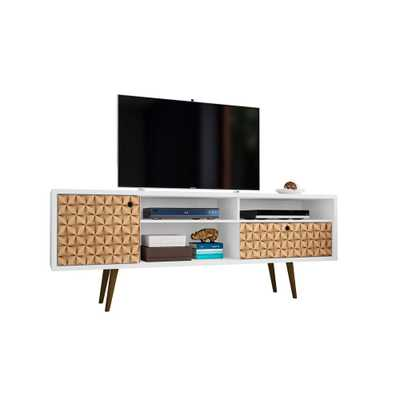 Liberty 70.86 in. White and 3D Brown Print 4-Shelf TV Stand, White And 3d Brown Prints - Home Depot