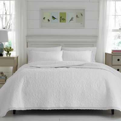 Heirloom Crotchet Grey 3-Piece Full/Queen Quilt Sets - Home Depot
