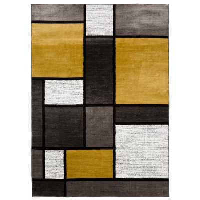 """Ikbal Contemporary Modern Boxes Gray Yellow Area Rug 5' 3""""x7' 3"""" - Home Depot"""