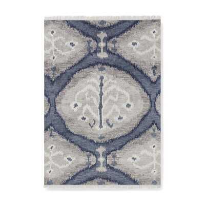 Custom Bukhara Ikat Hand Knotted Rug, 5x7', Denim - Williams Sonoma