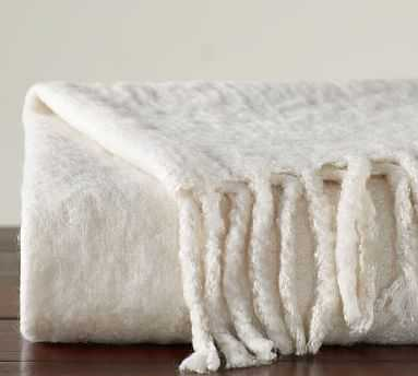 """Solid Faux Mohair Oversized Throw, 55 x 80"""", Ivory - Pottery Barn"""