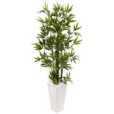 Indoor Bamboo Artificial Tree in White Tower Planter - Home Depot