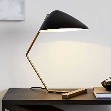 Curvilinear Mid-Century Table Lamp, Black/Brass - West Elm