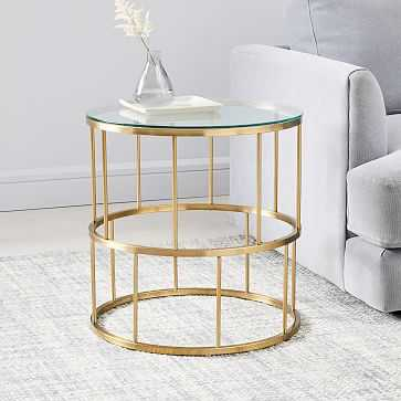 Zelda Side Table, Antique Brass - West Elm