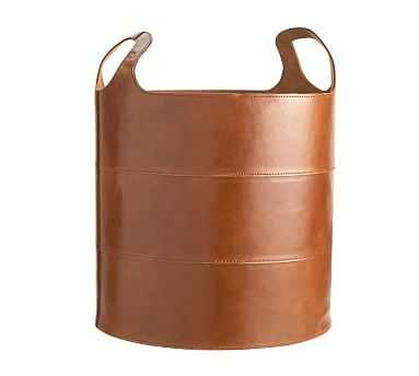 Hayes Leather Floor Tote Storage Basket - Pottery Barn