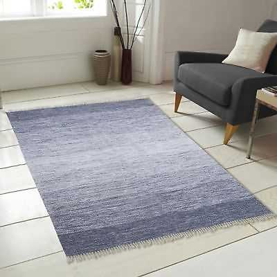 Chesapeake Merchandising Inc. Ombre Fringe Cotton Hand-Woven Blue Area Rug: 5' x 7' - eBay