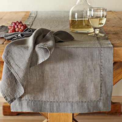Washed-Linen Table Runner, Charcoal - Williams Sonoma