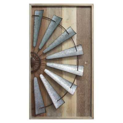 Windmill Wall Dcor, Natural Wood Galvanized Metal And Bronze - Home Depot