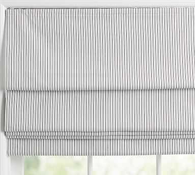 """Emily & Meritt Ticking Stripe Cordless Shade, 26x64"""", Black/White - Pottery Barn"""