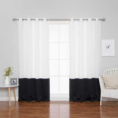 Best Home Fashion 84 in. L Polyester Oxford Black Colorblock Curtains in White (2-Pack) - Home Depot