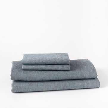 Belgian Linen Melange Sheet Set, California King, Shadow Blue - West Elm
